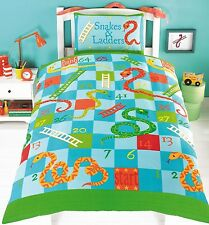 SNAKES & AND LADDERS KIDS DUVET QUILT COVER SINGLE BED BEDDING SET GREEN & BLUE