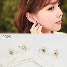 925 Sterling Silver White Mother of Pearl Crystal 12MM Cute Flower Stud Earrings