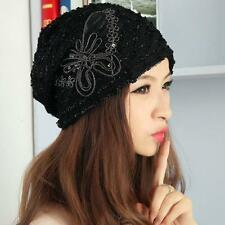 Free Shipping Women Autumn Winter Hat Lace Butterfly Beanie Skullies Turban Cap