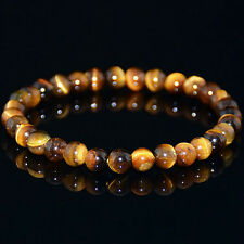 6mm Natural Yellow Tiger Eye Stone Gemstone Beads Men Jewelry Bracelet Bangle