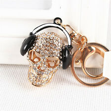 New Creative Skeleton Headphones Music Pendent Crystal Purse Bag Key Chain Gift