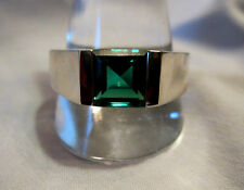 STYLISH RUSSIAN EMERALD MENS RING IN GENUINE .925 STERLING SILVER SIZE 11