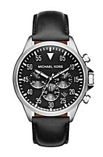 Michael Kors Men's Gage Black Leather Chronograph Watch - MK8442