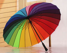 Super large mens umbrella long-handled windproof womens rain umbrella multicolor