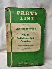 Vintage John Deere Tractor Parts Lists Manual Number 55 Self-Propelled Combine
