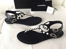 2016 CHANEL BLACK LEATHER FLAT SANDALS WITH PEARLS SIZE 38.5