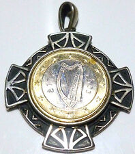 """VINTAGE MILOR ITALY STERLING SILVER 2003 EURO COIN 2"""" NECKLACE PENDANT"""