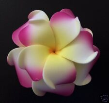 "3"" Hawaiian DOUBLE Plumeria Flower FOAM Hair CLIP White Yellow Pink Wedding Prom"