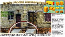 Concrete Exterior Platform/Deck Steps-(4pcs) Scale Model Masterpiece Yorke HOn3