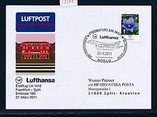 59211) LH FF Frankfurt - Split Kroatien 27.3.2011, So-Karte 75c Blumen