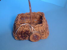Medium Basket Made of Sticks with Pine Cone,  Hand Painted Bear Plaque Handmade!