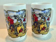2 Vintage Arcopal or Arcopal France Tall Stackable Mugs; Brueghel Painting(1913)