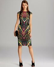KAREN MILLEN RARE BLACK ABSTRACT PRINT DRESS SIZE 10 BRAND NEW NO TAG