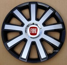 "Black/Silver 14"" wheel trims, Hub Caps, Covers to fit Fiat 500 (Quantity 4)"