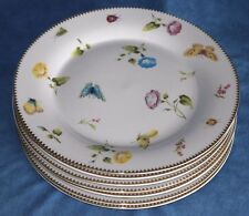 7 Godinger Primavera Gold Flowers Insects 10 3/4 Dinner Plate Lot Queen Victoria