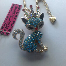 """PRETTY BLUE CRYSTAL FOX/CROWN 28"""" Pendant  Necklace Betsey Johnson"""