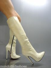 MORI MADE IN ITALY KNEE HIGH LUXURY BOOTS STIEFEL STIVALI LEATHER BEIGE NUDE 45