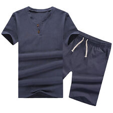 New Men's Cotton Flax Fashion T-shirt + Shorts Summer Breathe Top Casual Suits