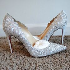 Christian Louboutin Top Vague White Crystal Strass 100 Bridal Heels Pumps 39 683