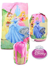 Disney Princess Indoor Slumber Sleeping Bag For Kids Girls w/ Carry Drawstring
