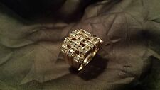 Stunning Unique 14K Gold Custom Made Diamond Designer Cocktail Ring - Size 8.5