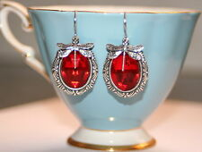 Vintage red glass Nouveau Dragonfy charm Victorian silver artisan earrings