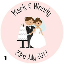 PERSONALISED, BRIDE & GROOM, GLOSS WEDDING,LABELS MIX AND MATCH IMAGE & COLOUR