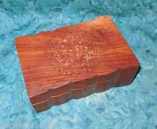 "Celtic Tree Wood Box NEW Hand Carved Trinket Incense Cards Photos 6"" x 4"" 10.5oz"