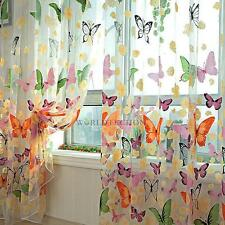 Butterlfly Tulle Voile Door Window Curtain Drape Panel Sheer Scarf Valances #W