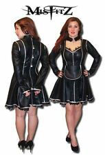 Misfitz black leather look padlock straitjacket maids dress sizes 8-32/custom