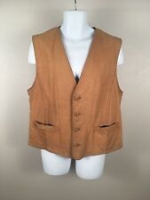 Brooks Brothers Brown Leather Blue Green Tartan Plaid Country Vest Sz XL