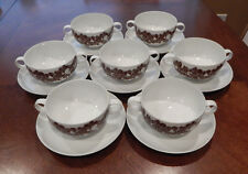 ROSENTHAL CHINA STUDIO LINIE CORDIAL PLUS BROWN CREAM SOUP BOWLS & SAUCERS 14PCS