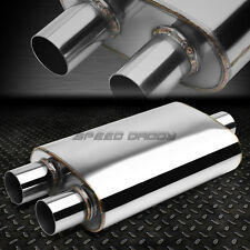 """2.5""""IN/DUAL OFFSET OUT FULLY POLISHED STAINLESS STEEL HIGH-FLOW MUFFLER EXHAUST"""