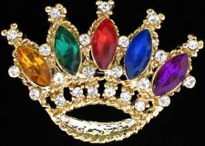 MULTI COLOR SHAPE RHINESTONE PRINCESS CROWN BEAUTY PAGEANT TIARA PIN BROOCH 2