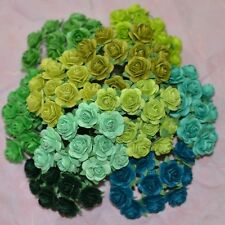 100 MIXED MULBERRY PAPER ARTIFICIAL ROSE HEAD FLOWER GREEN TONE 0.6 Inches/ 15mm