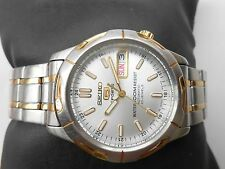 VINTAGE SS 2 TONE SEIKO 5 SPORTS SILVER DIAL 100 MW RESIST MENS AUTOMATIC WATCH