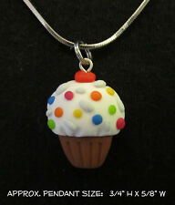 Sprinkles Cupcake Necklace Charm Polymer Clay Handmade Silver Steel Chain