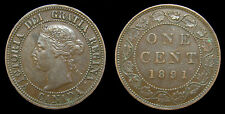 1891 Canada 1 One Large Cent Queen Victoria SDSL Obv 3 Key Variety Rare VF-30