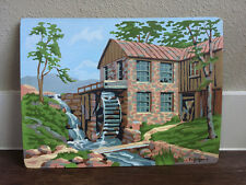 Vintage Paint By Number PBN Mill Water Wheel Nature Hand-Painted Retro Art