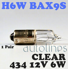 H6W 12V 6W BAX9S 434 Base Offset Clear Halogen Headlight C2R Filament Globe Bulb