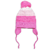 Baby Girls Knitted Striped Bobble Wooly Hat by Rock A Bye 6-24 Months in Pink