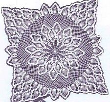 Vintage Crochet PATTERN 7277 TV Cover tablecoth scarf doily bedspread pineapple