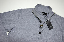 Authentic New Mens Hugo Boss 1/2 Zip and Buttoned Wool Sweater Gray XL size