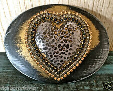 HEART gold pewter black crystals oval Belt Maison Handmade belt buckle NEW 4 x 3