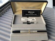 NEW PLATINUM Stainless Armor Fountain Pen 14K White Gold Medium Nib w/Converter