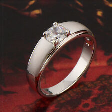 Simple Mens Womens Solid Gold Plated White Topaz Wedding Silver Punk Ring Size 8