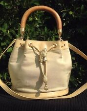 Barry Kieselstein-Cord Leather Canvas Sterling Gold Satchel Bamboo Frog Purse