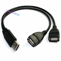 1ft USB 2.0 A Male to 2 Port USB Female Y Splitter USB Extension Adapter Cable