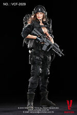 VeryCool 1/6 Scale VCF-2029 Female Shooter Black Action Figure Head Suits New