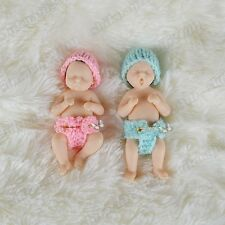"4"" Mini Full Body solid Platinum Resin reborn baby doll miniature newborn twins"